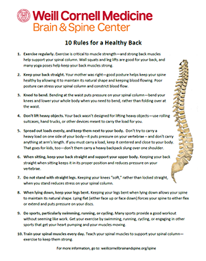 10 Rules for a Healthy Back