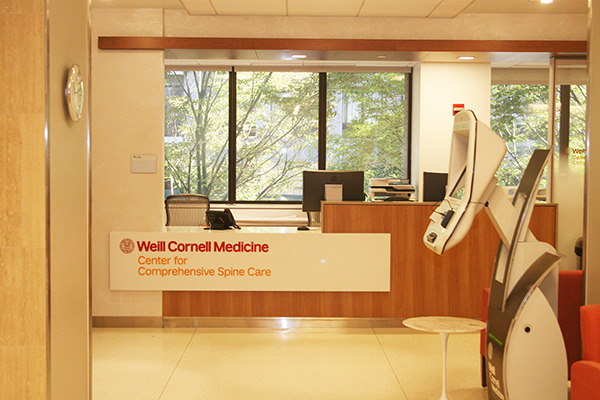 Front desk: Weill Cornell Medicine Center for Comprehensive Spine Care