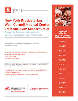 2017 Brain Aneurysm Support Group Meeting Dates