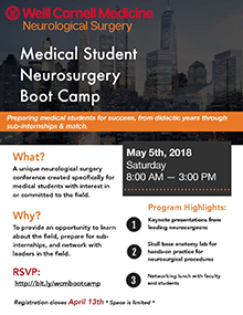 Weill Cornell neurosurgery - medical student neurosurgery boot camp 2018