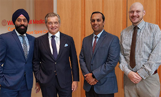 Dr. Hartl (second from left) directs the Weill Cornell Medicine Center for Comprehensive Spine Care along with co-directors Dr. Ricky Singh (rehabilitation medicine), Dr. Neel Mehta (pain management) and Dr. Josh Weaver (neurology)