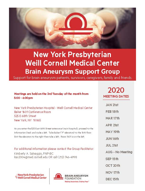 2020 Brain Aneurysm Support Group Meeting Dates