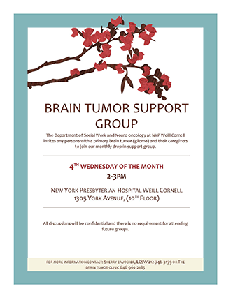 Brain Tumor Support Group Flyer 2019