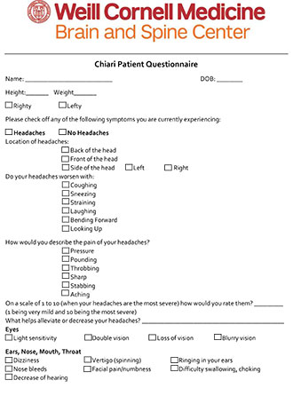 Chiari New Patient Questionnaire
