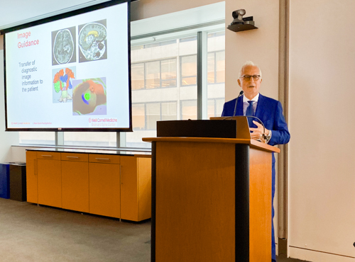 Our chairman, Dr. Philip Stieg, delivers a presentation about approaches to treating adults with cerebrovascular disorders