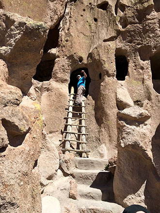 Just a few months after surgery, Gary was hiking—and climbing—in Bandelier National Monument.