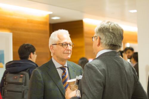 Dr. Philip E. Stieg talks with Dr. Roger Härtl