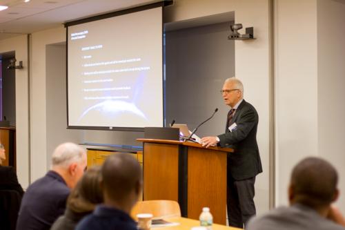 Dr. Philip E. Stieg addresses attendees before introducing Dean Augustine M.K. Choi, M.D.