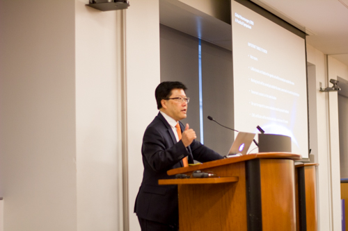 Dean Augustine M.K. Choi, M.D. delivers opening remarks
