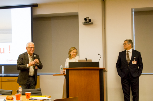 Dr. Philip E. Stieg, Dr. Caitlin Hoffman, and Dr. Roger Härtl moderate a group discussion about collaboration going forward