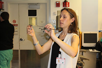 Dr. Hoffman demonstrates an endoscope