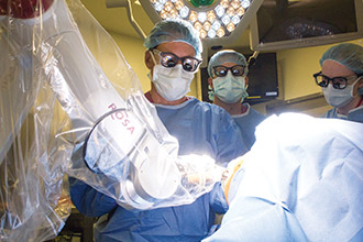 Dr. Schwartz uses the ROSA robot during epilepsy surgery