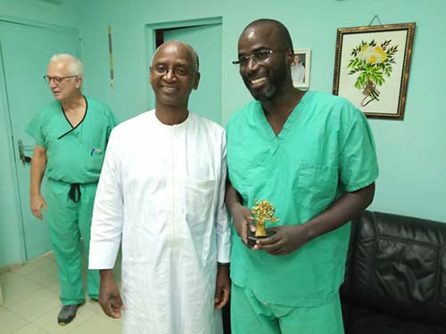 Dr. Stieg and Dr. Cisse with Dr. Seydou Badiane, chairman of Fann Hospital's neurosurgery program