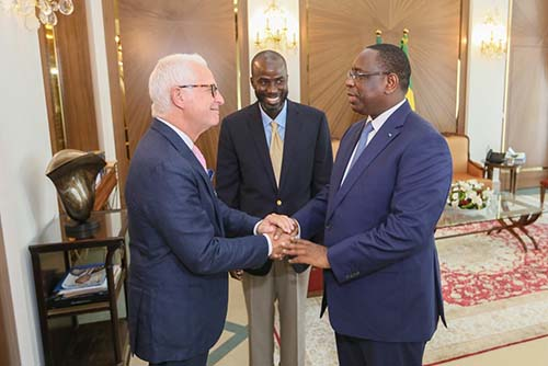 Dr. Cisse introduces Dr. Stieg to the President of Senegal, Macky Sall