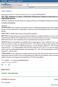 Sex, Age, Anatomic Location, and Extent of Resection Influence Outcomes in Children With High-grade Glioma