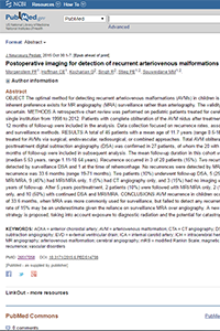 Postoperative imaging for detection of recurrent arteriovenous malformations in children
