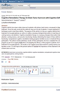 Cognitive Remediation Therapy for Brain Tumor Survivors with Cognitive Deficits
