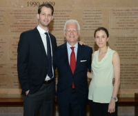 Dr. Philip E. Stieg (center), chairman of the Department of Neurosurgery, with graduates Dr. David Rubin and Dr. Caitlin Hoffman