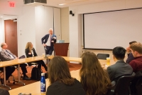 Dr. Philip Stieg speaks with BME students from the Ithaca campus