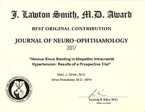 Best Original Contribution by the North American Neuro-Ophthalmology Society