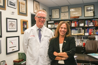 Radiation oncologist Jonathan Knisely with neurosurgeon/neuro-oncologist Susan Pannullo