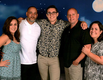 Terry Deleon (right) with her family on a cruise just 10 days after her surgery