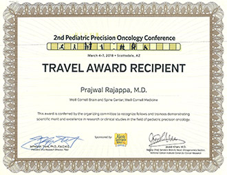 Prajwal Rajappa MD Weill Cornell Travel Award