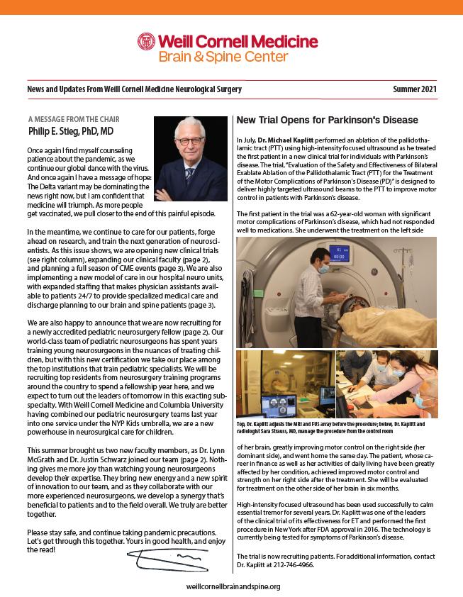 WCM Brain and Spine Center Newsletter - Summer 2021